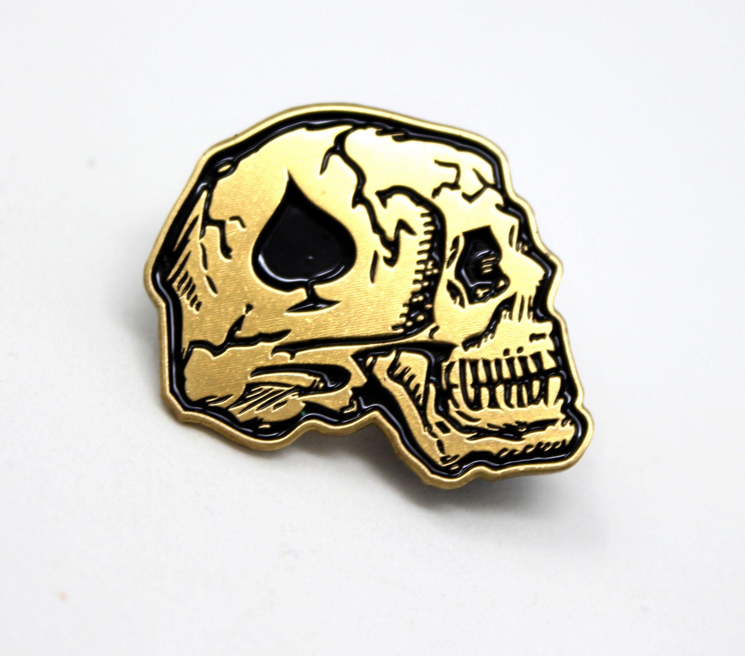 dead skull spade vietnam airborne calvary pin brass