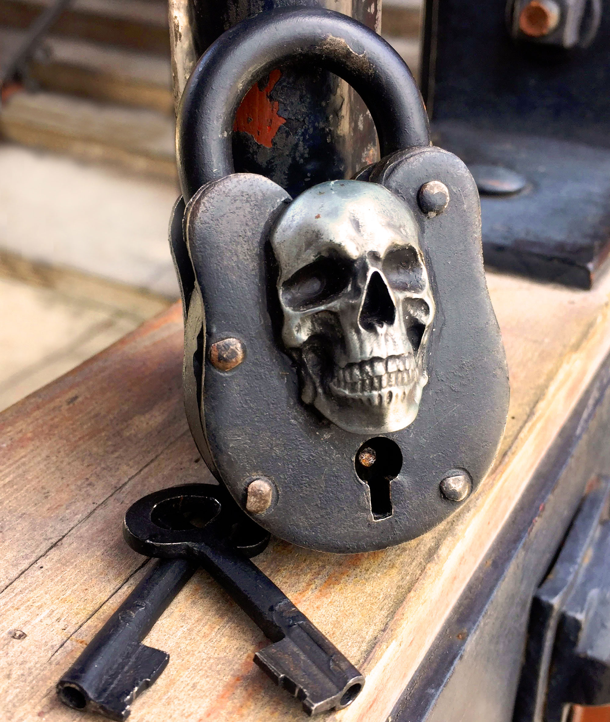 skull antique lock wicca medieval